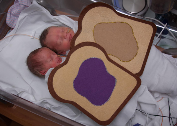 babies with sandwich costumes