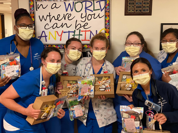 nurses with gifts
